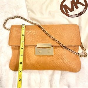 Michael Kors Leather Clutch with Chain Link